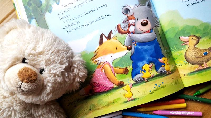 Ursulețul Benny și Rățușca Mac, de Katja Reider și Tim Warnes. Univers Enciclopedic ISBN 978-606-704-144-6