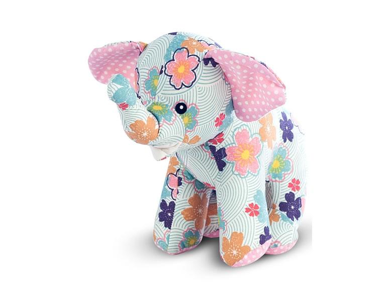 Jucarie textila pentru bebe, elefant colorat inflorat