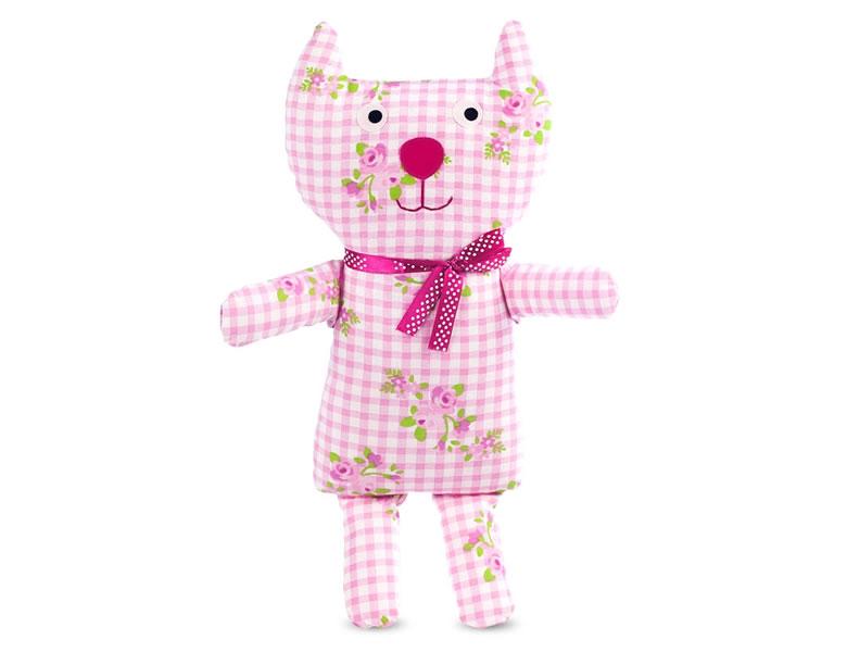 Jucarie textila pisica roz, pentru bebe de la 0 la 12 luni U-Grow