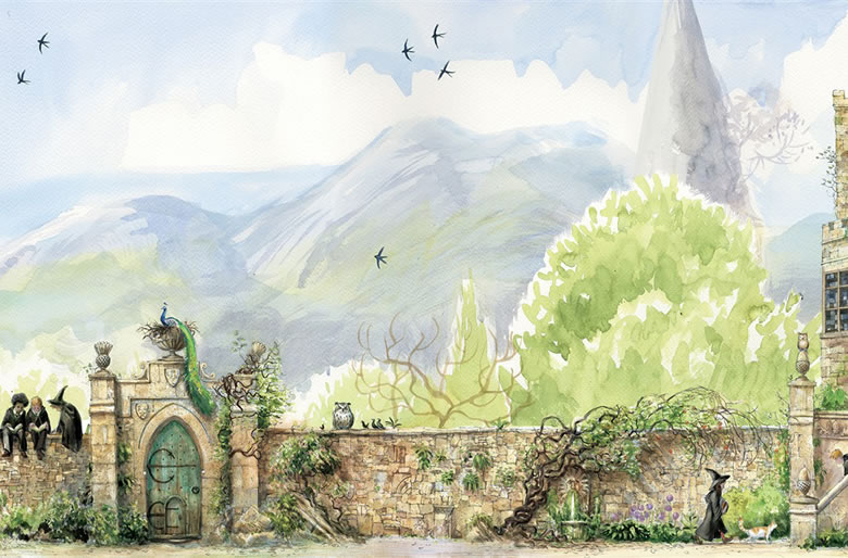 Garden wall from the Illustrated Edition of Harry Potter and the Prisoner of Azkaban , Jim Kay, Bloomsbury