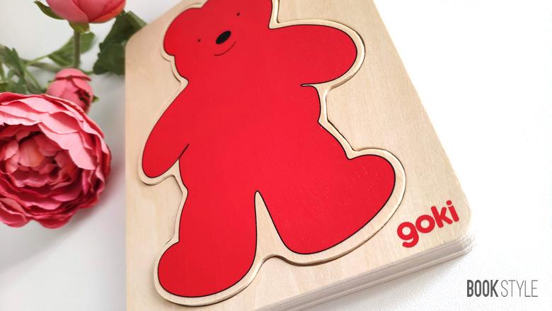 Puzzle din lemn multistrat, pentru dezvoltarea senzorială - Ursuleț - GOKI