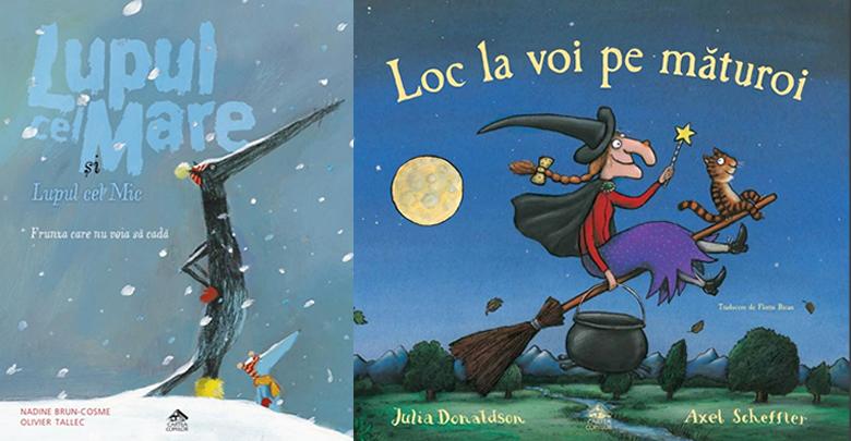 Lupul cel Mare și Lupul cel Mic: Frunza care nu voia să cadă și Loc la voi pe măturoi - În această iarnă la Editura Cartea Copiilor