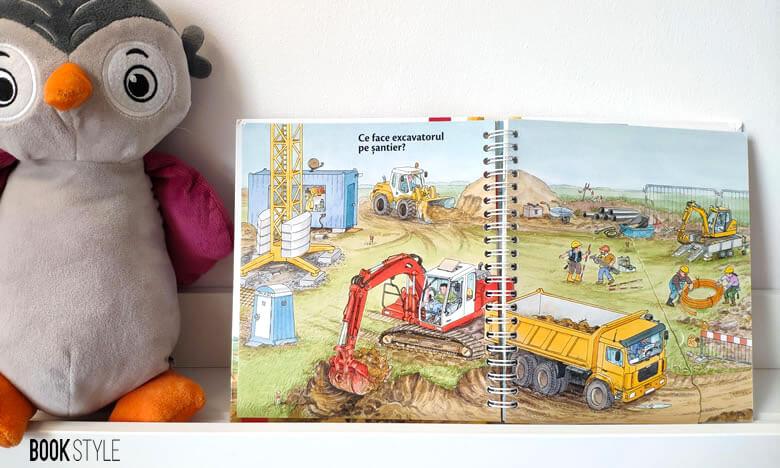 Cărți interactive pentru copii, cu și despre utilaje de construcție și șantier. Carte cu ferestre Excavatorul Editura Casa