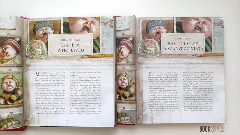 Harry Potter și piatra filosofală. Cartea ilustrată - ediția în română vs. ediția în engleză