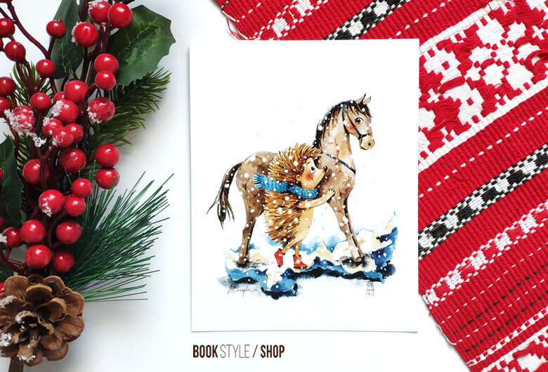 carte postala Aliona Bereghici iarnă calut cal arici