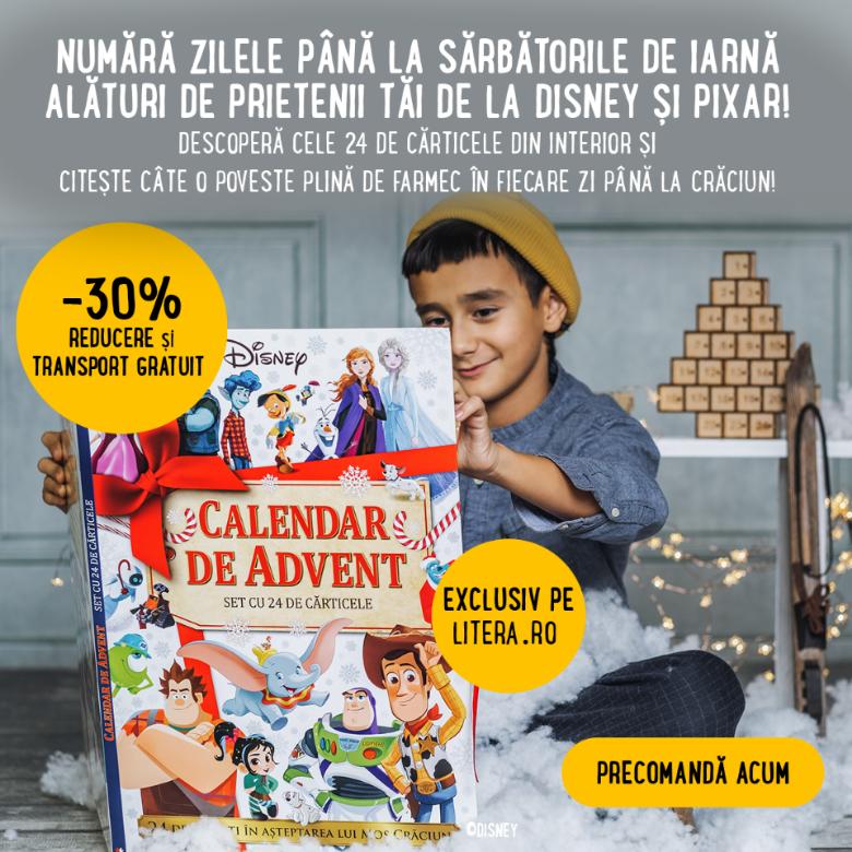 Disney Pixar calendar de Advent cu 24 de cărticele povești în plicuri- Editura Litera
